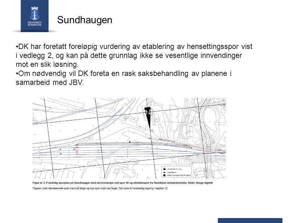 Sundhaugen DK har foretatt foreløpig vurdering av etablering av hensettingsspor vist i vedlegg 2, og kan på dette grunnlag ikke se vesentlige innvendi