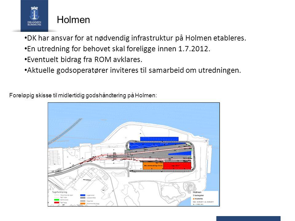 DK har ansvar for at nødvendig infrastruktur på Holmen etableres. En utredning for behovet skal foreligge innen 1.7.2012. Eventuelt bidrag fra ROM avk