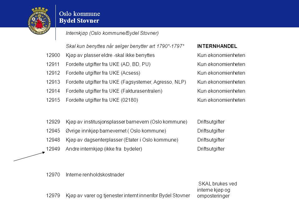 Oslo kommune Bydel Stovner Internkjøp (Oslo kommune/Bydel Stovner) Skal kun benyttes når selger benytter art 1790*-1797*INTERNHANDEL 12900Kjøp av plas