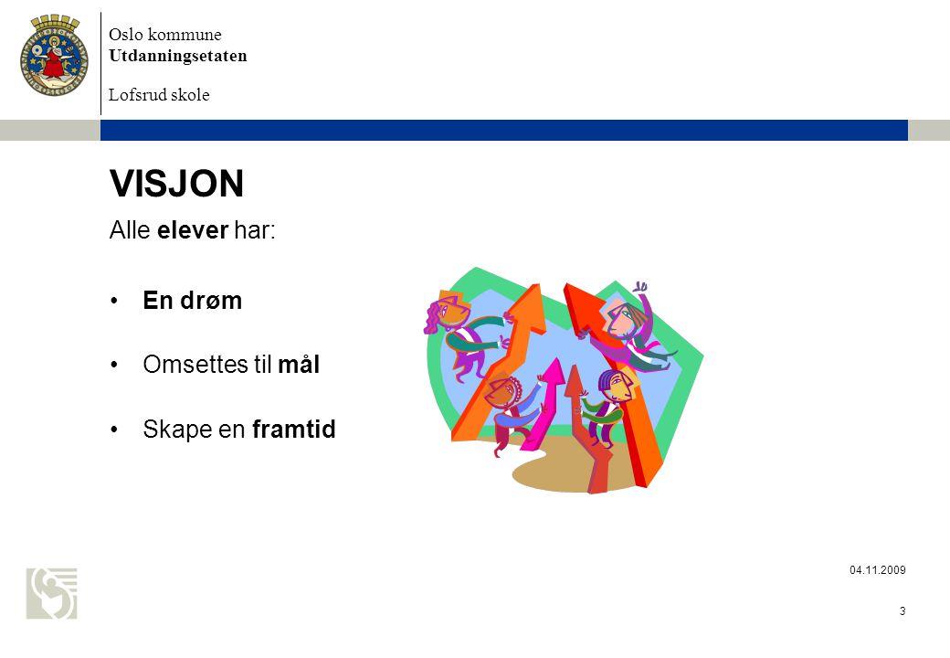 Oslo kommune Utdanningsetaten Lofsrud skole 04.11.2009 3 VISJON Alle elever har: En drøm Omsettes til mål Skape en framtid