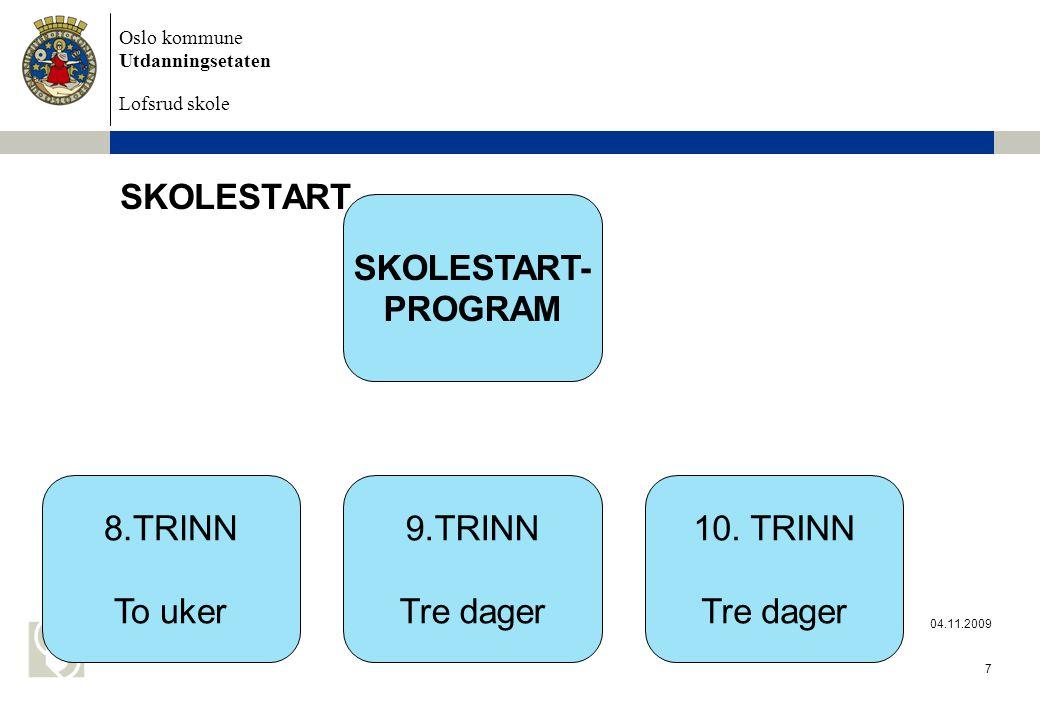 Oslo kommune Utdanningsetaten Lofsrud skole 04.11.2009 7 SKOLESTART SKOLESTART- PROGRAM 8.TRINN To uker 9.TRINN Tre dager 10.