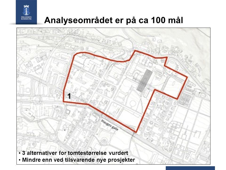 Analyseområdet er på ca 100 mål 3 alternativer for tomtestørrelse vurdert Mindre enn ved tilsvarende nye prosjekter