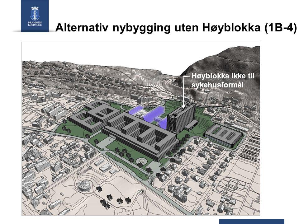Alternativ nybygging uten Høyblokka (1B-4) Høyblokka ikke til sykehusformål