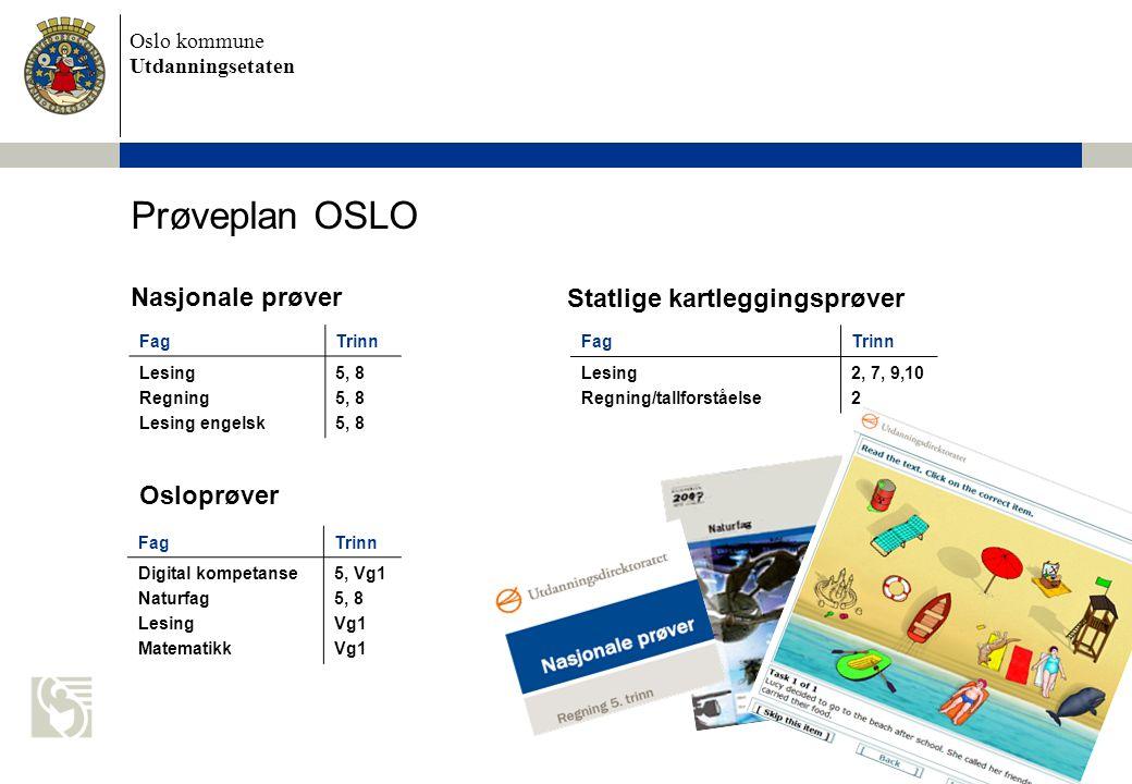 Oslo kommune Utdanningsetaten Prøveplan OSLO FagTrinn Lesing Regning Lesing engelsk 5, 8 FagTrinn Lesing Regning/tallforståelse 2, 7, 9,10 2 FagTrinn