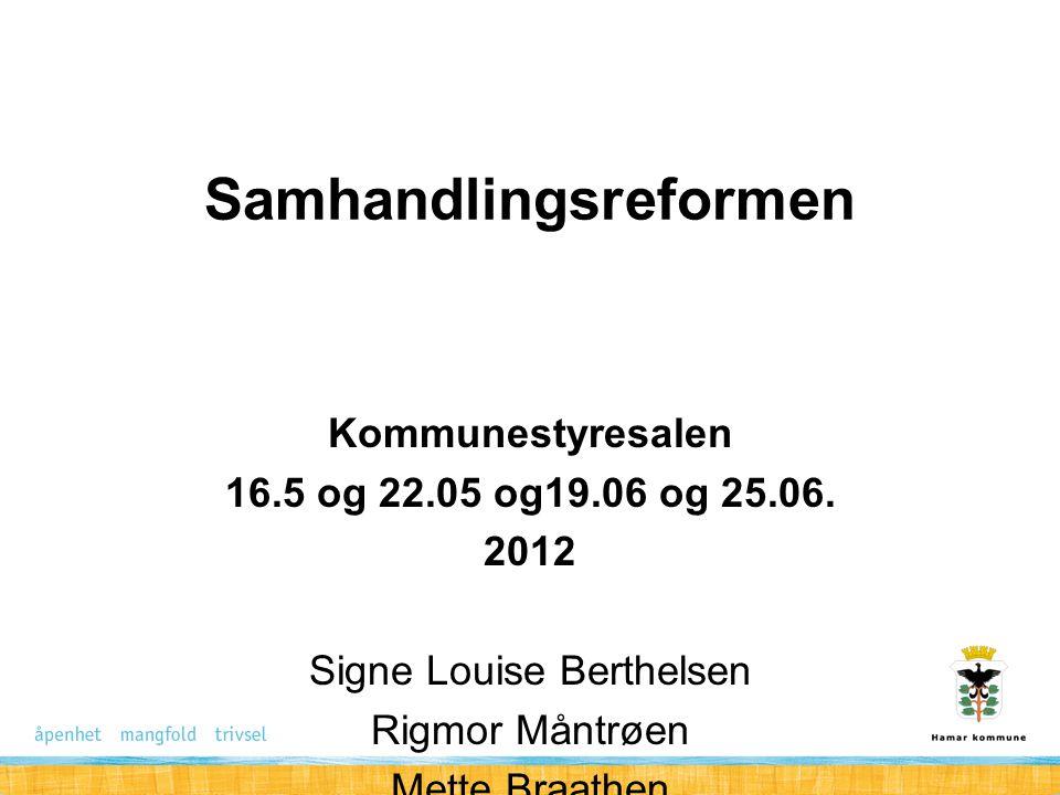 Samhandlingsreformen Kommunestyresalen 16.5 og 22.05 og19.06 og 25.06.