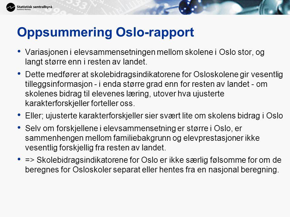 Oppsummering Oslo-rapport Variasjonen i elevsammensetningen mellom skolene i Oslo stor, og langt større enn i resten av landet. Dette medfører at skol