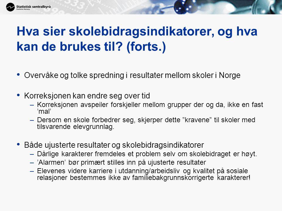 Hva sier skolebidragsindikatorer, og hva kan de brukes til? (forts.) Overvåke og tolke spredning i resultater mellom skoler i Norge Korreksjonen kan e