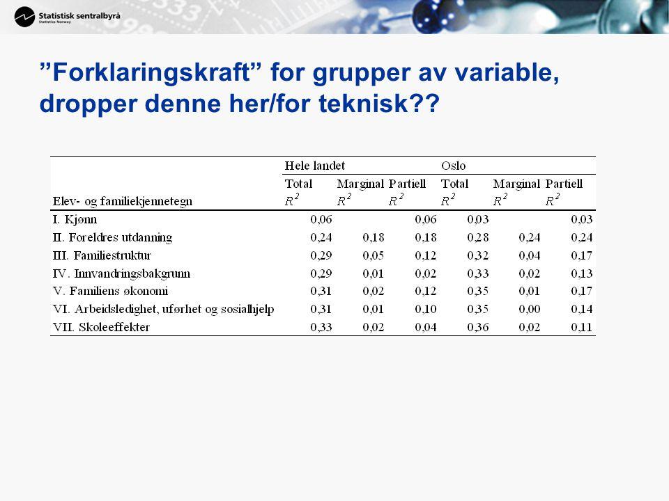 """""""Forklaringskraft"""" for grupper av variable, dropper denne her/for teknisk??"""