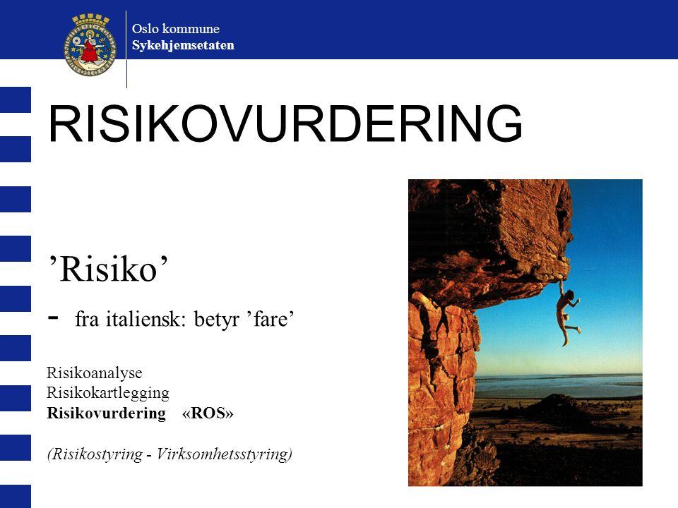 'Risiko' - fra italiensk: betyr 'fare' Risikoanalyse Risikokartlegging Risikovurdering «ROS» (Risikostyring - Virksomhetsstyring) Oslo kommune Sykehjemsetaten RISIKOVURDERING