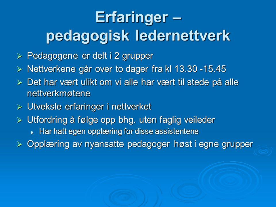 Erfaringer – pedagogisk ledernettverk  Pedagogene er delt i 2 grupper  Nettverkene går over to dager fra kl 13.30 -15.45  Det har vært ulikt om vi