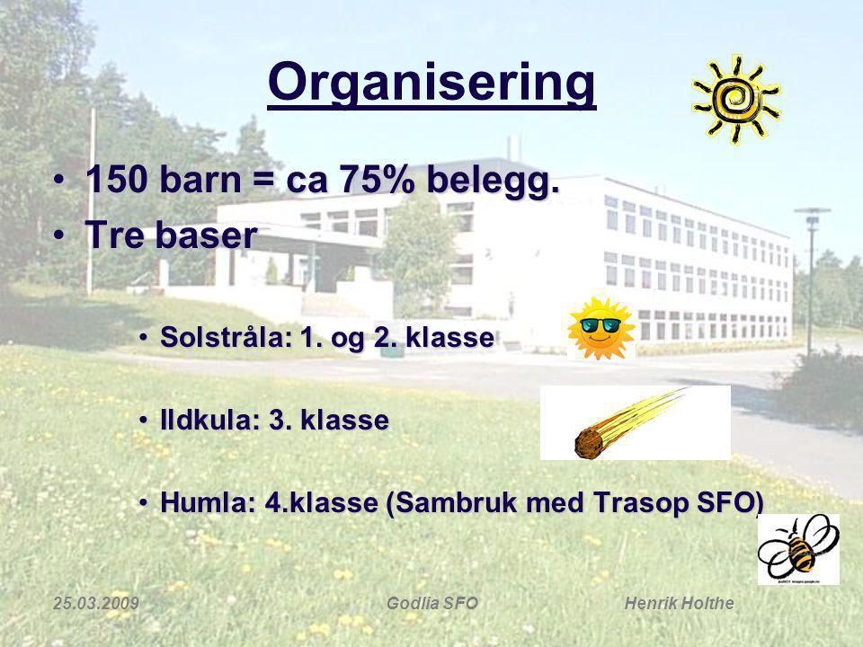 25.03.2009Godlia SFO Henrik Holthe Organisering 150 barn = ca 75% belegg.150 barn = ca 75% belegg. Tre baserTre baser Solstråla: 1. og 2. klasseSolstr