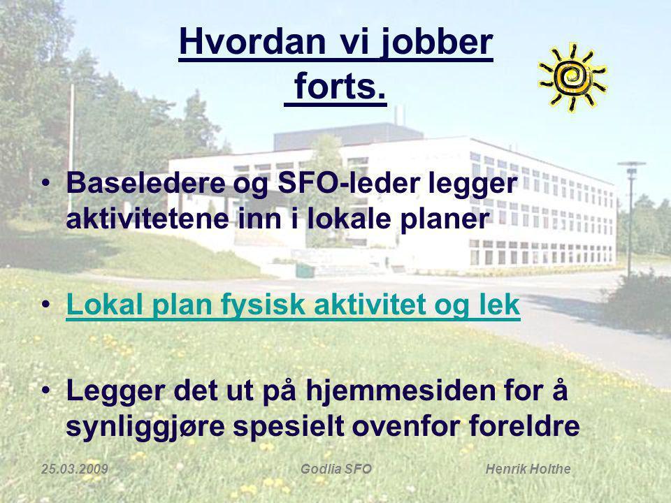 25.03.2009Godlia SFO Henrik Holthe Hvordan vi jobber forts.