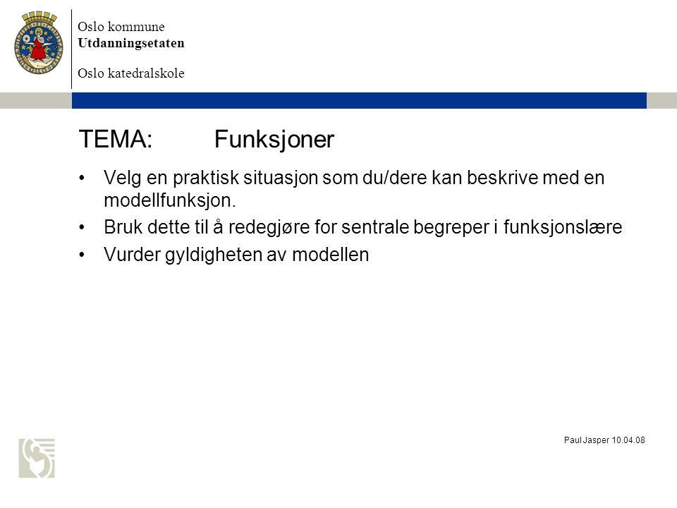 Oslo kommune Utdanningsetaten Oslo katedralskole Paul Jasper 10.04.08 TEMA:Funksjoner Velg en praktisk situasjon som du/dere kan beskrive med en model