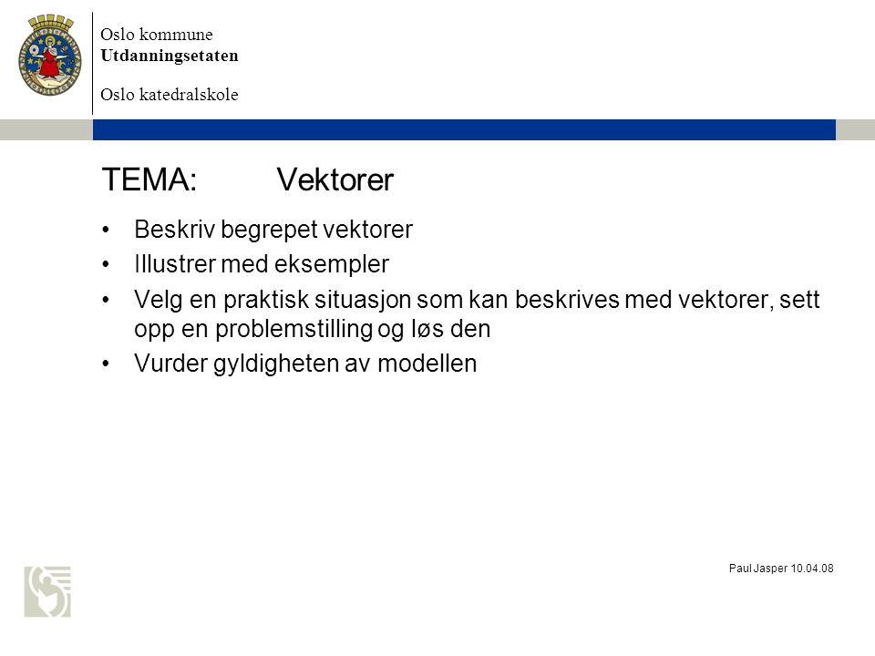 Oslo kommune Utdanningsetaten Oslo katedralskole Paul Jasper 10.04.08 TEMA:Vektorer Beskriv begrepet vektorer Illustrer med eksempler Velg en praktisk