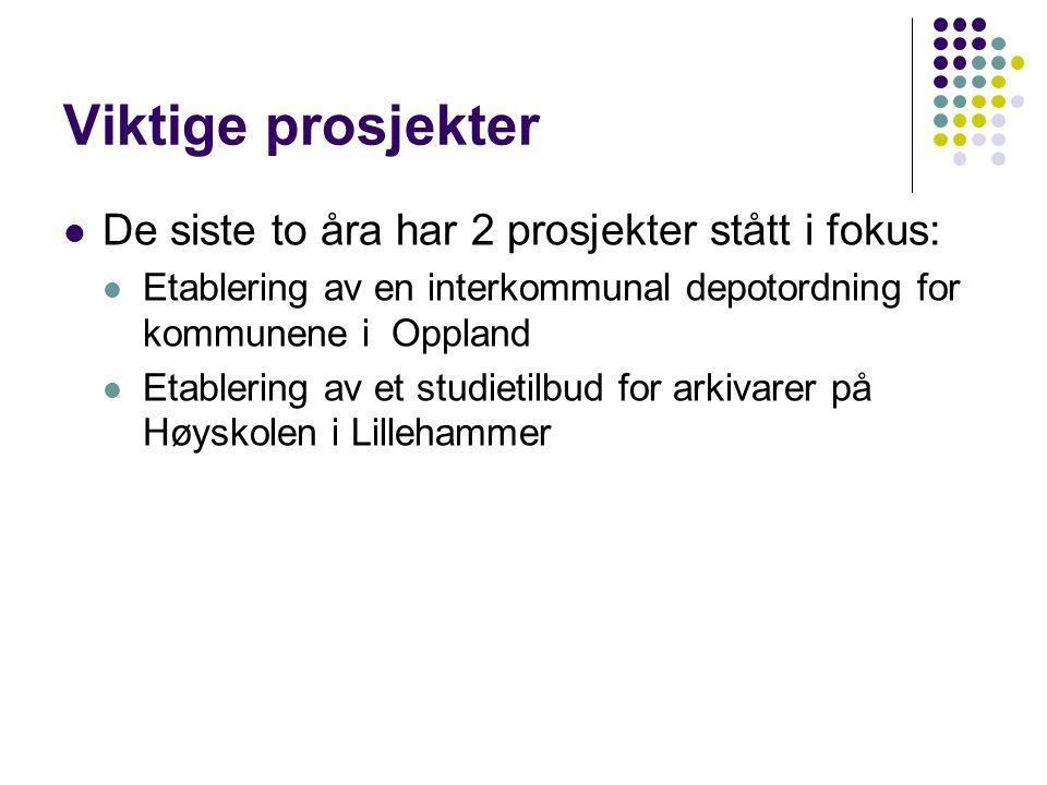 Viktige prosjekter De siste to åra har 2 prosjekter stått i fokus: Etablering av en interkommunal depotordning for kommunene i Oppland Etablering av et studietilbud for arkivarer på Høyskolen i Lillehammer