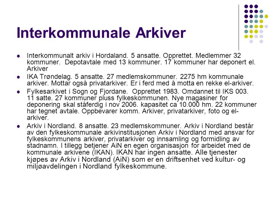 Interkommunale Arkiver Interkommunalt arkiv i Hordaland. 5 ansatte. Opprettet. Medlemmer 32 kommuner. Depotavtale med 13 kommuner. 17 kommuner har dep