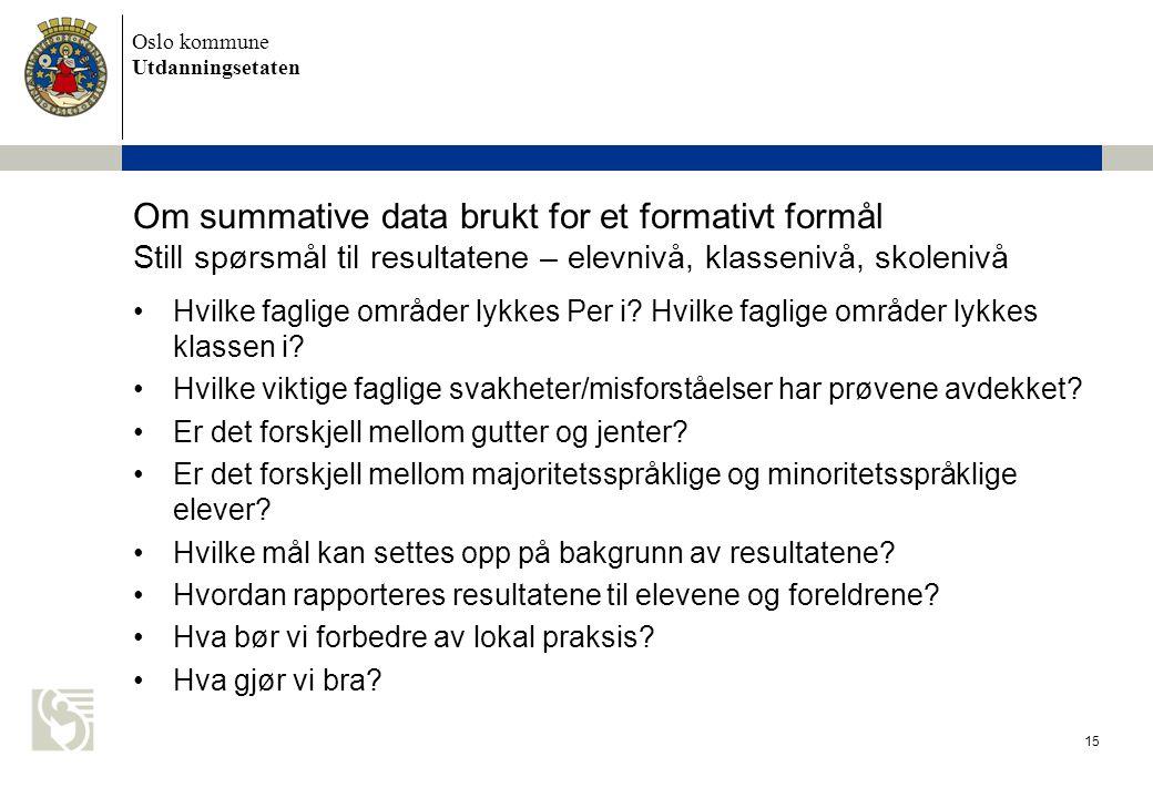 Oslo kommune Utdanningsetaten 15 Om summative data brukt for et formativt formål Still spørsmål til resultatene – elevnivå, klassenivå, skolenivå Hvil