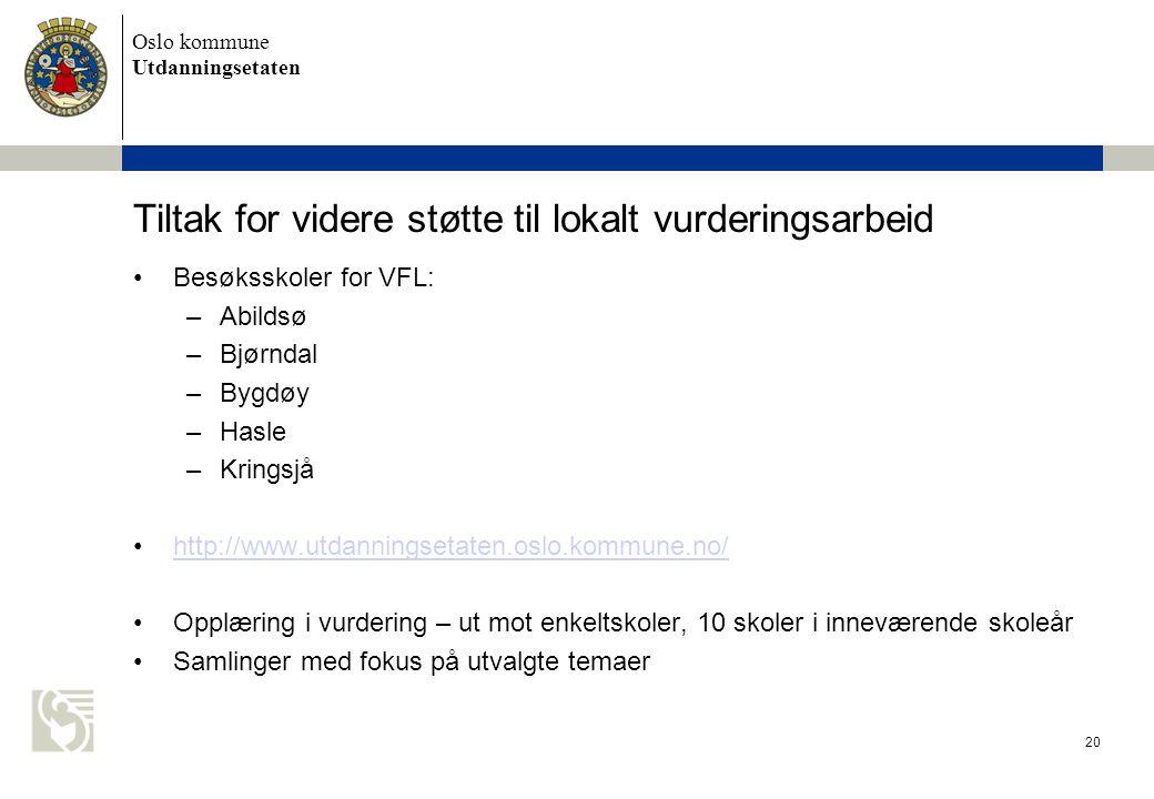 Oslo kommune Utdanningsetaten 20 Tiltak for videre støtte til lokalt vurderingsarbeid Besøksskoler for VFL: –Abildsø –Bjørndal –Bygdøy –Hasle –Kringsj