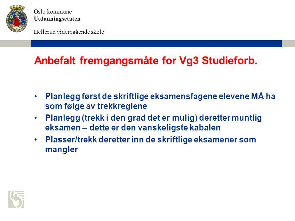 Oslo kommune Utdanningsetaten Hellerud videregående skole Anbefalt fremgangsmåte for Vg3 Studieforb. Planlegg først de skriftlige eksamensfagene eleve