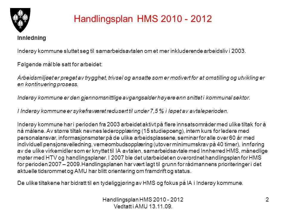 Handlingsplan HMS 2010 - 2012 Vedtatt i AMU 13.11.09. 2 Handlingsplan HMS 2010 - 2012 Innledning Inderøy kommune sluttet seg til samarbeidsavtalen om