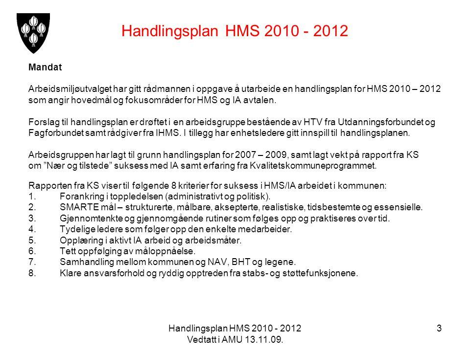 Handlingsplan HMS 2010 - 2012 Vedtatt i AMU 13.11.09. 3 Handlingsplan HMS 2010 - 2012 Mandat Arbeidsmiljøutvalget har gitt rådmannen i oppgave å utarb