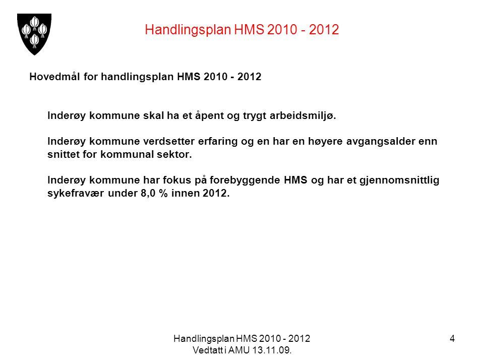 Handlingsplan HMS 2010 - 2012 Vedtatt i AMU 13.11.09. 4 Handlingsplan HMS 2010 - 2012 Hovedmål for handlingsplan HMS 2010 - 2012 Inderøy kommune skal