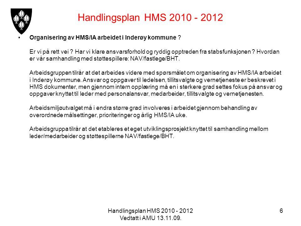 Handlingsplan HMS 2010 - 2012 Vedtatt i AMU 13.11.09. 6 Handlingsplan HMS 2010 - 2012 Organisering av HMS/IA arbeidet i Inderøy kommune ? Er vi på ret