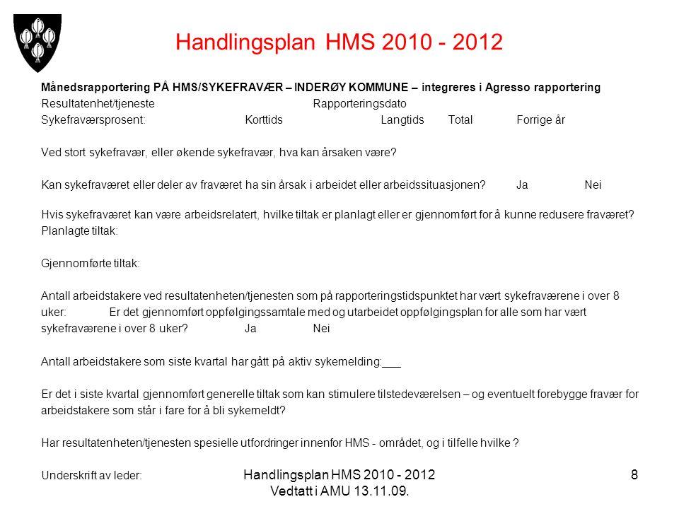 Handlingsplan HMS 2010 - 2012 Vedtatt i AMU 13.11.09. 8 Handlingsplan HMS 2010 - 2012 Månedsrapportering PÅ HMS/SYKEFRAVÆR – INDERØY KOMMUNE – integre