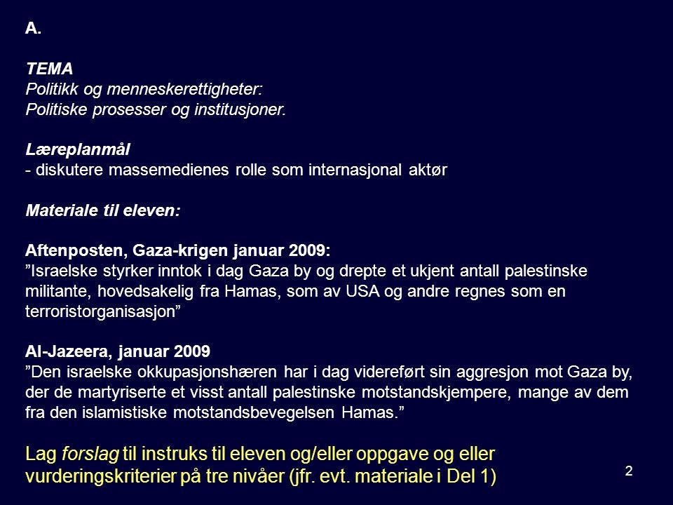 2 A. TEMA Politikk og menneskerettigheter: Politiske prosesser og institusjoner. Læreplanmål - diskutere massemedienes rolle som internasjonal aktør M