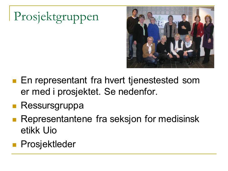 Prosjektgruppen En representant fra hvert tjenestested som er med i prosjektet. Se nedenfor. Ressursgruppa Representantene fra seksjon for medisinsk e
