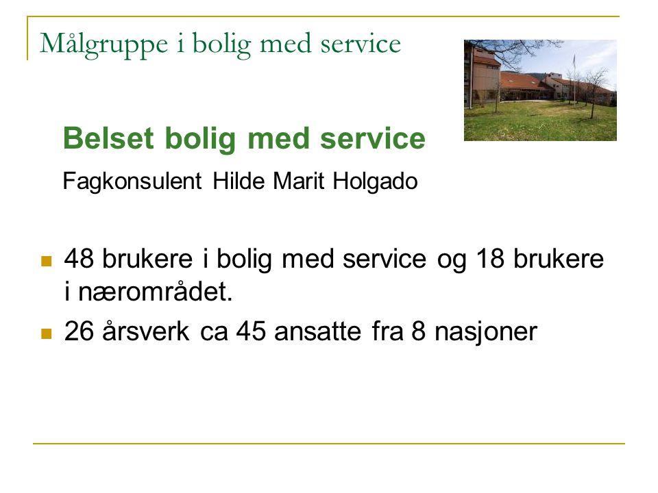 Målgruppe i bolig med service Belset bolig med service Fagkonsulent Hilde Marit Holgado 48 brukere i bolig med service og 18 brukere i nærområdet. 26