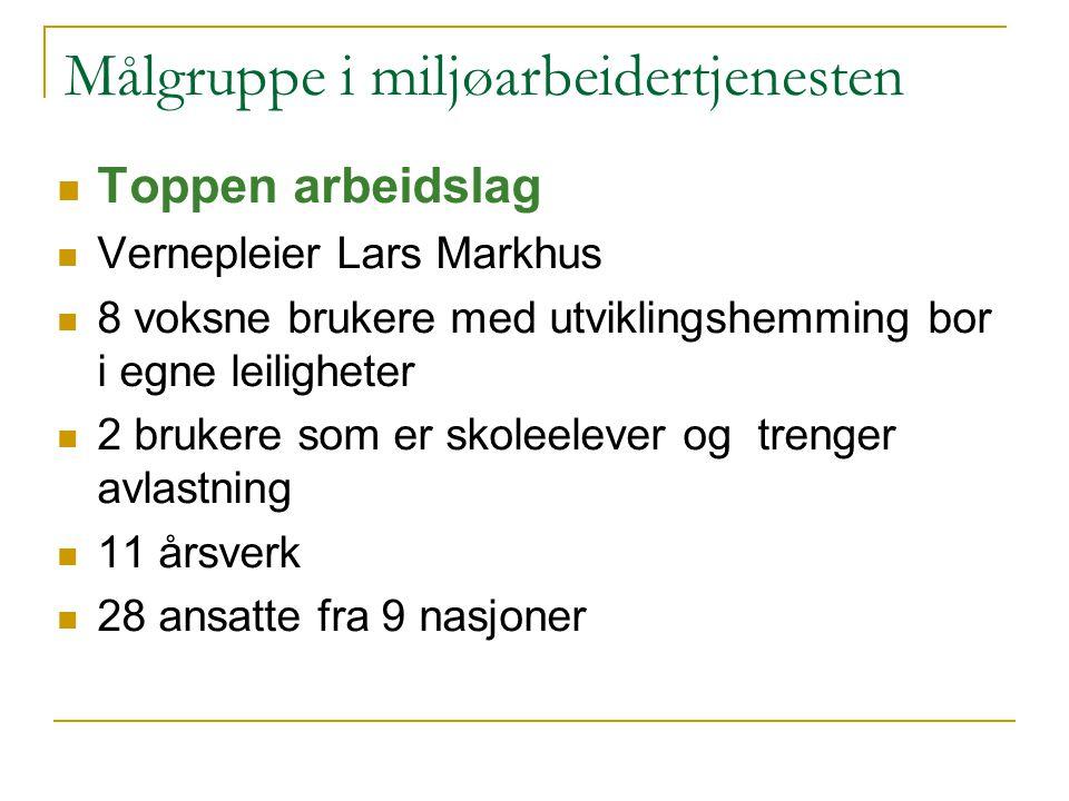 Målgruppe i miljøarbeidertjenesten Toppen arbeidslag Vernepleier Lars Markhus 8 voksne brukere med utviklingshemming bor i egne leiligheter 2 brukere