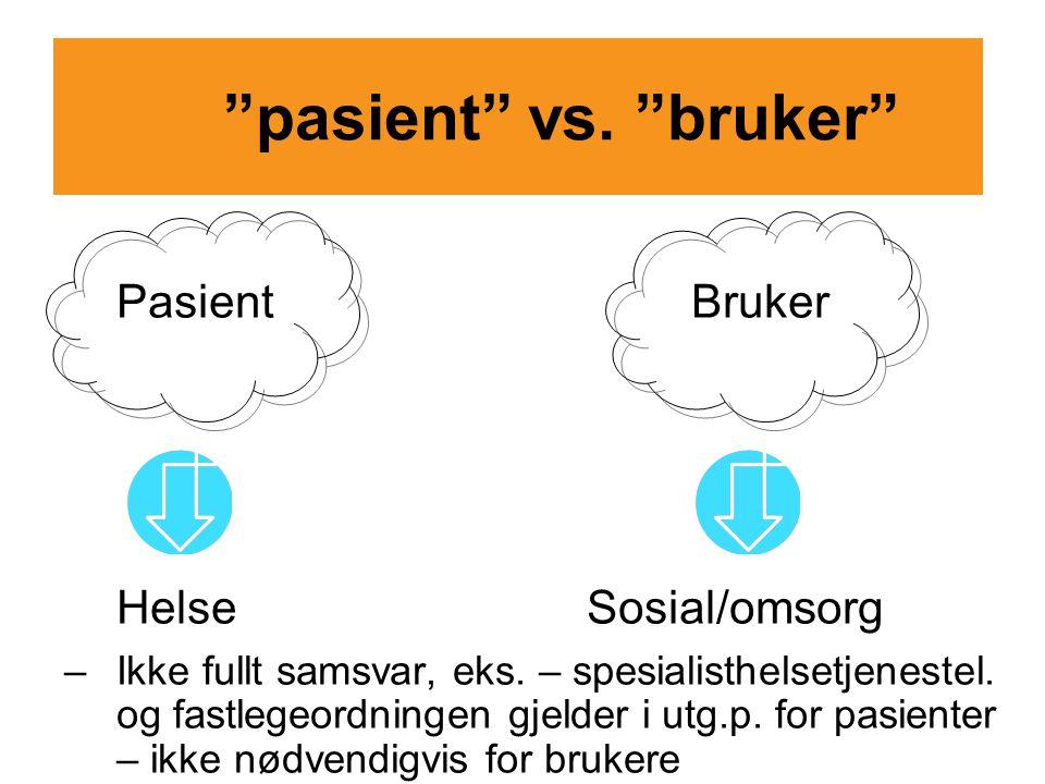 """""""pasient"""" vs. """"bruker"""" PasientBruker HelseSosial/omsorg –Ikke fullt samsvar, eks. – spesialisthelsetjenestel. og fastlegeordningen gjelder i utg.p. fo"""