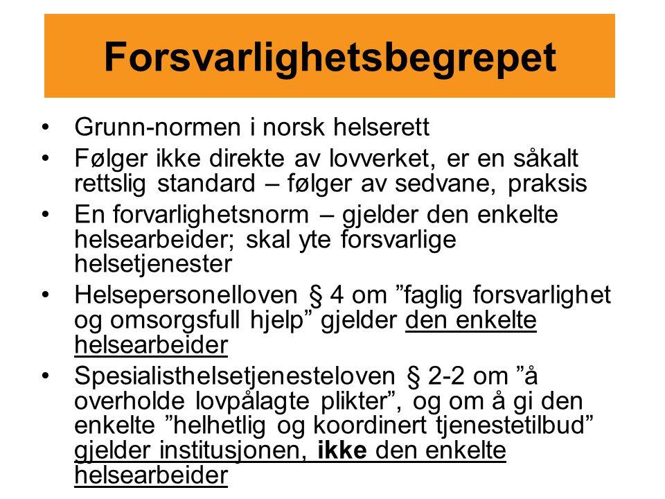 Forsvarlighetsbegrepet Grunn-normen i norsk helserett Følger ikke direkte av lovverket, er en såkalt rettslig standard – følger av sedvane, praksis En