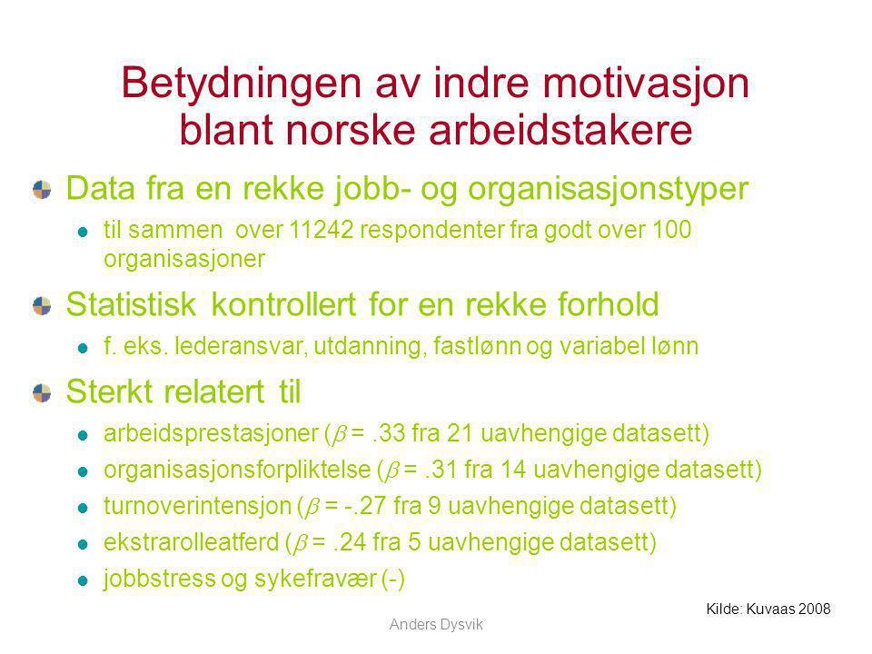 Anders Dysvik Betydningen av indre motivasjon blant norske arbeidstakere Data fra en rekke jobb- og organisasjonstyper til sammen over 11242 responden