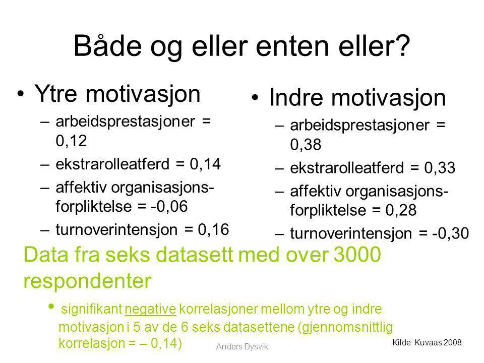 Anders Dysvik Både og eller enten eller? Ytre motivasjon –arbeidsprestasjoner = 0,12 –ekstrarolleatferd = 0,14 –affektiv organisasjons- forpliktelse =