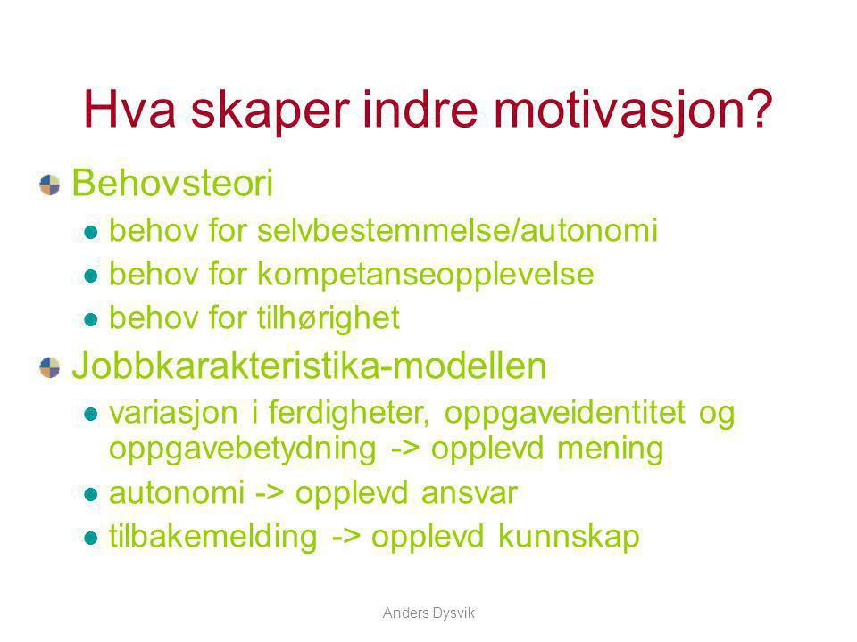 Anders Dysvik Hva skaper indre motivasjon? Behovsteori behov for selvbestemmelse/autonomi behov for kompetanseopplevelse behov for tilhørighet Jobbkar