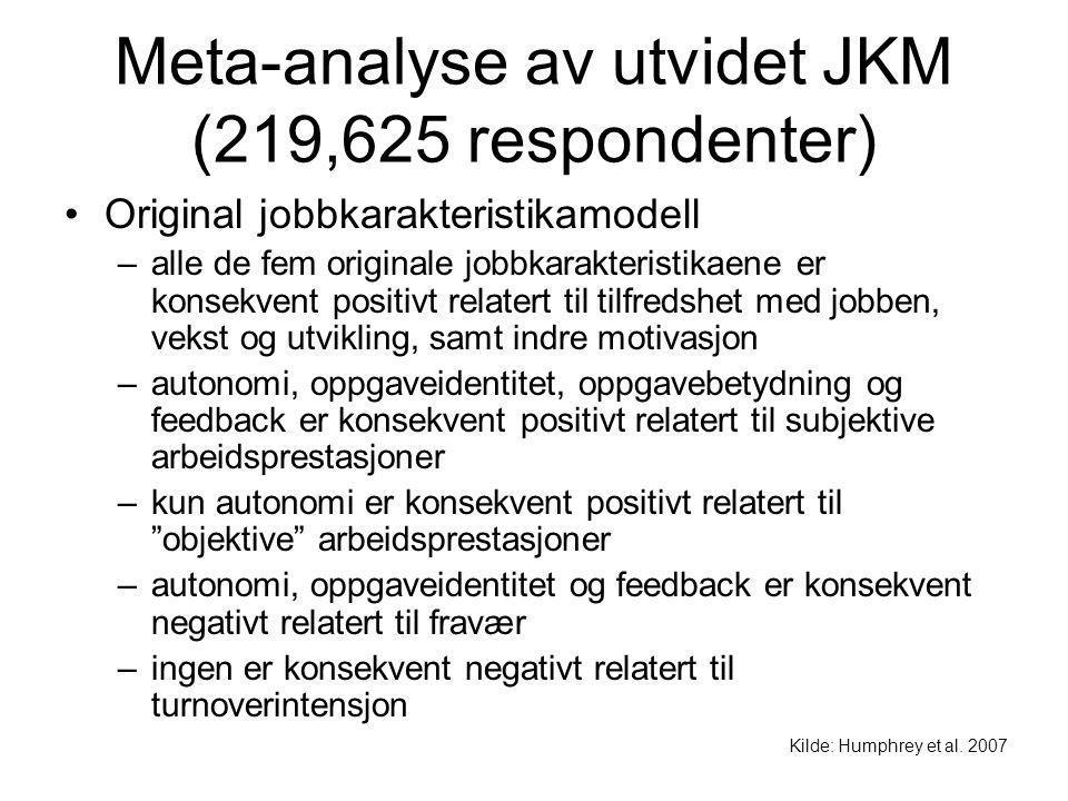Meta-analyse av utvidet JKM (219,625 respondenter) Original jobbkarakteristikamodell –alle de fem originale jobbkarakteristikaene er konsekvent positi