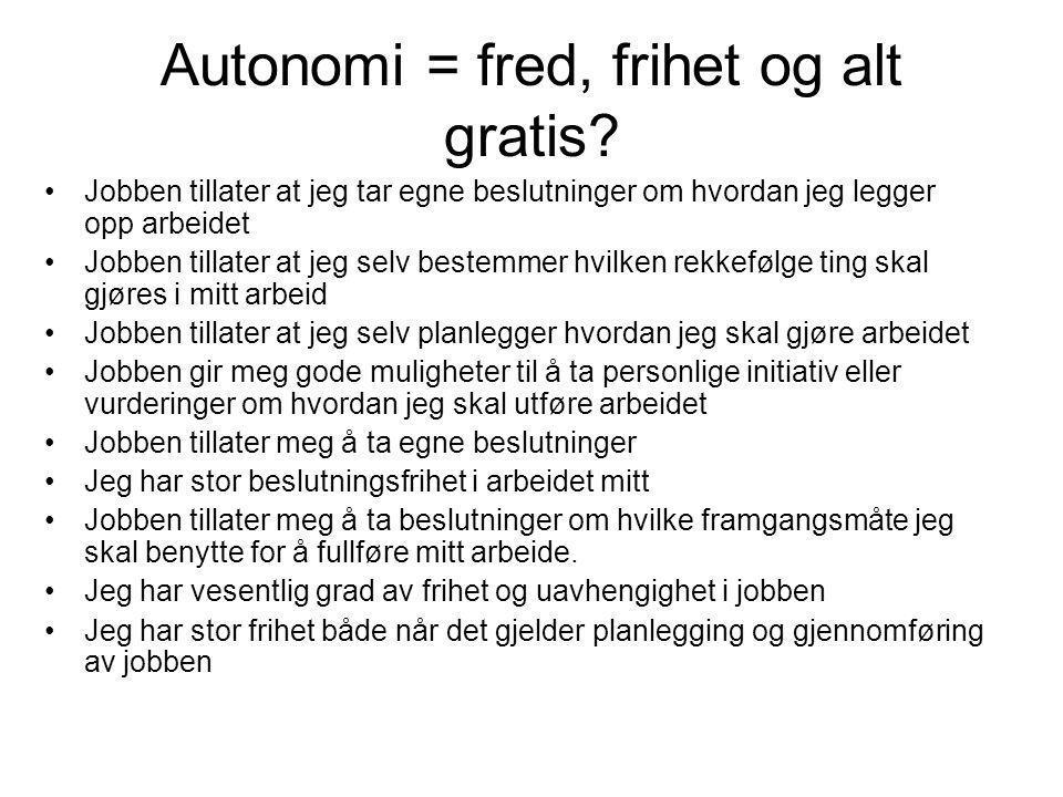 Autonomi = fred, frihet og alt gratis? Jobben tillater at jeg tar egne beslutninger om hvordan jeg legger opp arbeidet Jobben tillater at jeg selv bes