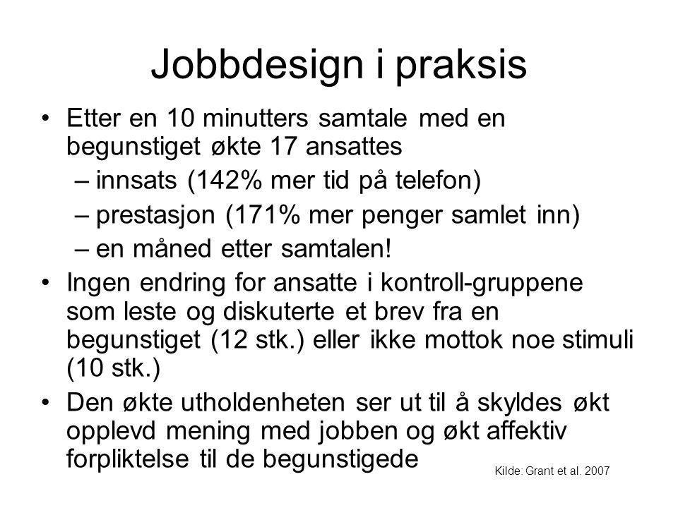 Jobbdesign i praksis Etter en 10 minutters samtale med en begunstiget økte 17 ansattes –innsats (142% mer tid på telefon) –prestasjon (171% mer penger