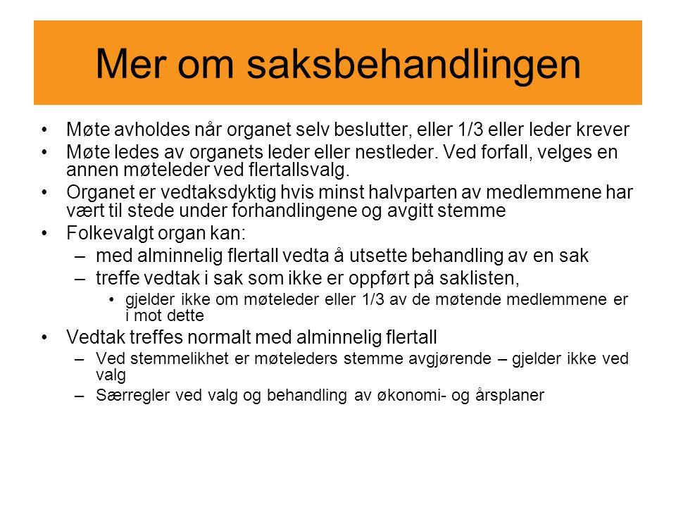 Mer om saksbehandlingen Møte avholdes når organet selv beslutter, eller 1/3 eller leder krever Møte ledes av organets leder eller nestleder. Ved forfa