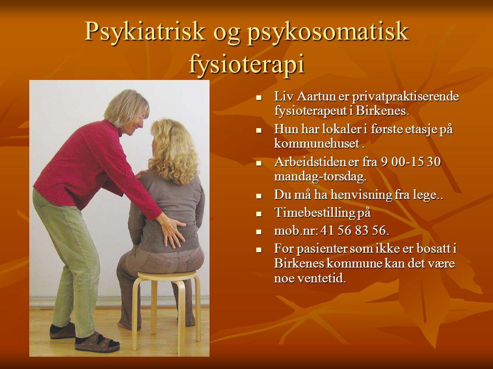 Psykiatrisk og psykosomatisk fysioterapi Liv Aartun er privatpraktiserende fysioterapeut i Birkenes. Liv Aartun er privatpraktiserende fysioterapeut i