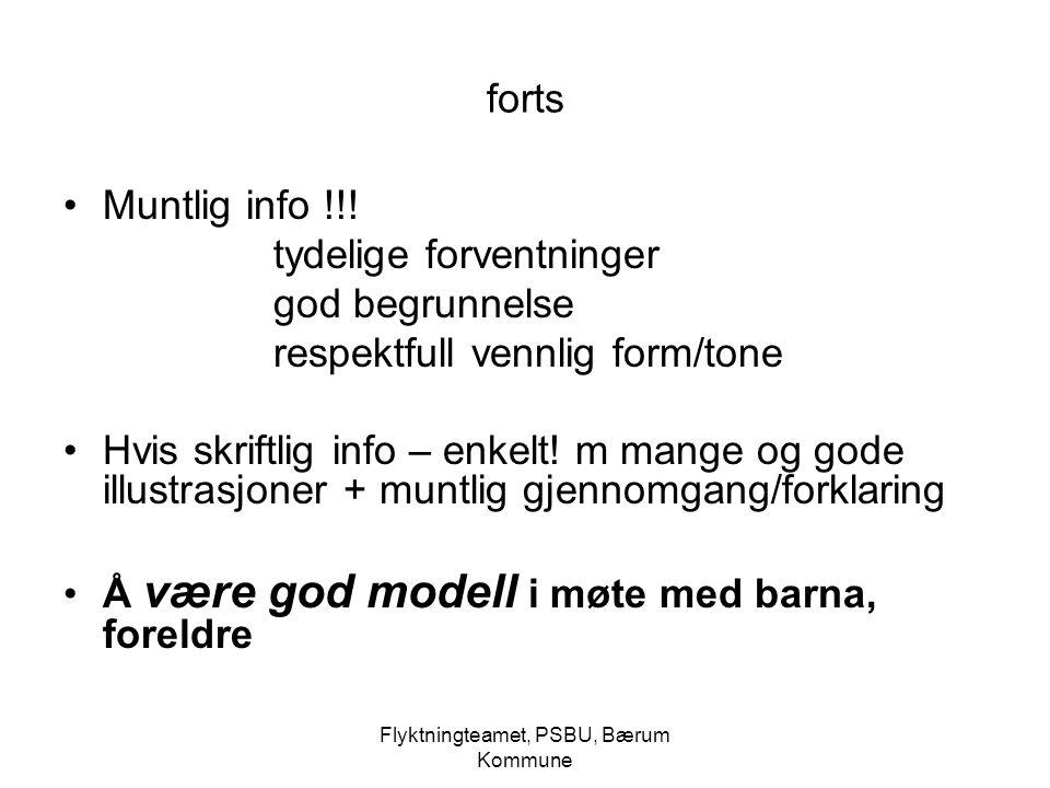 Flyktningteamet, PSBU, Bærum Kommune forts Muntlig info !!! tydelige forventninger god begrunnelse respektfull vennlig form/tone Hvis skriftlig info –
