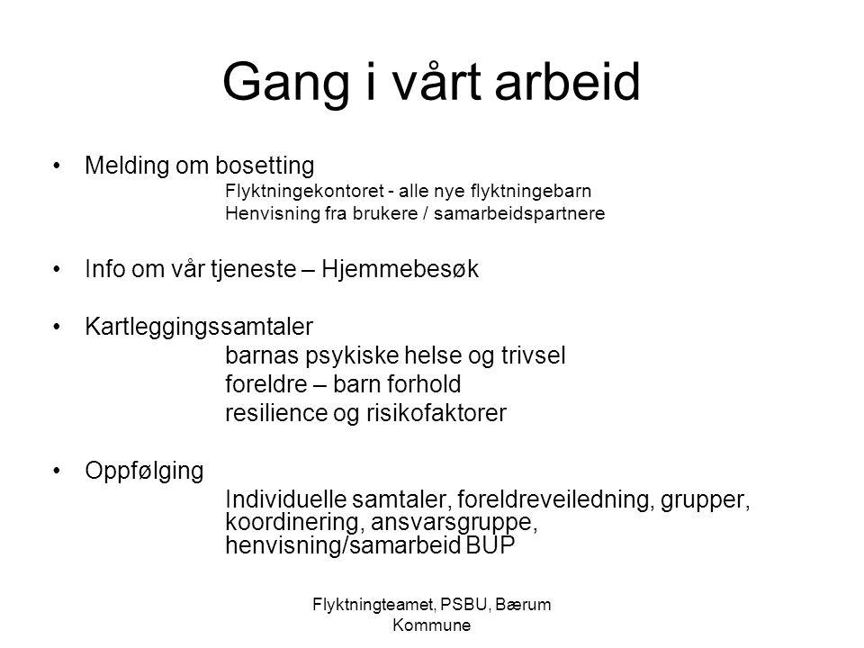 Flyktningteamet, PSBU, Bærum Kommune PSBU, Flyktningeteamet jobber med Kartlegging (imdi midler?) Stabilisering Resiliensfaktorer Psyko-edukasjon Migrasjonsprosesser Samspillstøtte (marthe-meo, icdp) Nettverk