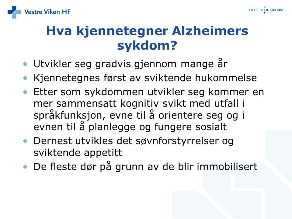 Hva kjennetegner Alzheimers sykdom? Utvikler seg gradvis gjennom mange år Kjennetegnes først av sviktende hukommelse Etter som sykdommen utvikler seg
