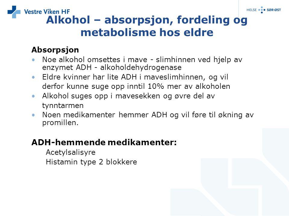 Alkohol – absorpsjon, fordeling og metabolisme hos eldre Absorpsjon Noe alkohol omsettes i mave - slimhinnen ved hjelp av enzymet ADH - alkoholdehydro