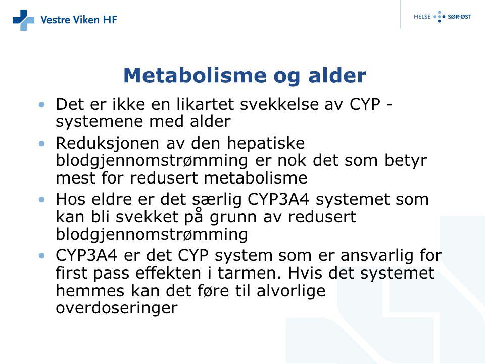 Metabolisme og alder Det er ikke en likartet svekkelse av CYP - systemene med alder Reduksjonen av den hepatiske blodgjennomstrømming er nok det som b