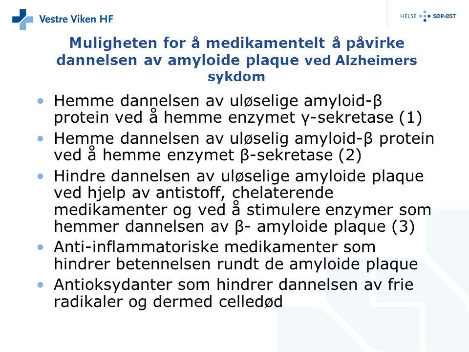 Muligheten for å medikamentelt å påvirke dannelsen av amyloide plaque ved Alzheimers sykdom Hemme dannelsen av uløselige amyloid-β protein ved å hemme enzymet γ-sekretase (1) Hemme dannelsen av uløselig amyloid-β protein ved å hemme enzymet β-sekretase (2) Hindre dannelsen av uløselige amyloide plaque ved hjelp av antistoff, chelaterende medikamenter og ved å stimulere enzymer som hemmer dannelsen av β- amyloide plaque (3) Anti-inflammatoriske medikamenter som hindrer betennelsen rundt de amyloide plaque Antioksydanter som hindrer dannelsen av frie radikaler og dermed celledød