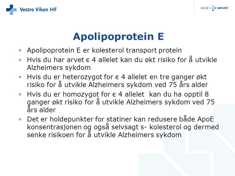 Apolipoprotein E Apolipoprotein E er kolesterol transport protein Hvis du har arvet є 4 allelet kan du økt risiko for å utvikle Alzheimers sykdom Hvis