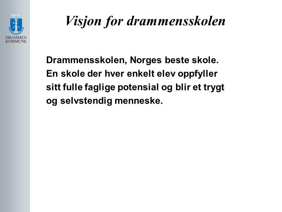 Visjon for drammensskolen Drammensskolen, Norges beste skole. En skole der hver enkelt elev oppfyller sitt fulle faglige potensial og blir et trygt og
